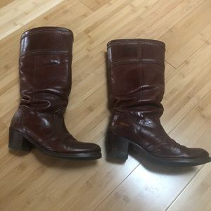 Wide calf Frye boots with small heel